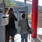 Tagungsteilnehmer an den Plakaten